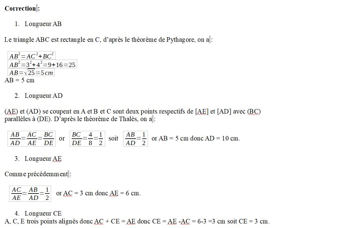 Correction Thalès et Pythagore
