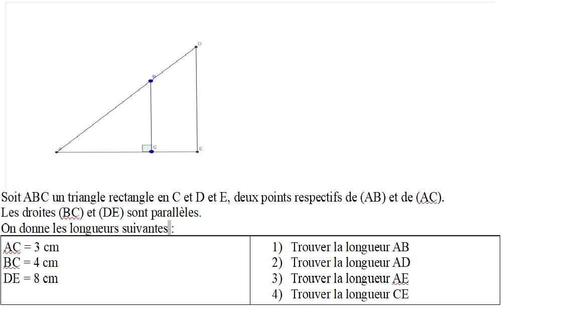 Exercice Thalès et pythagore