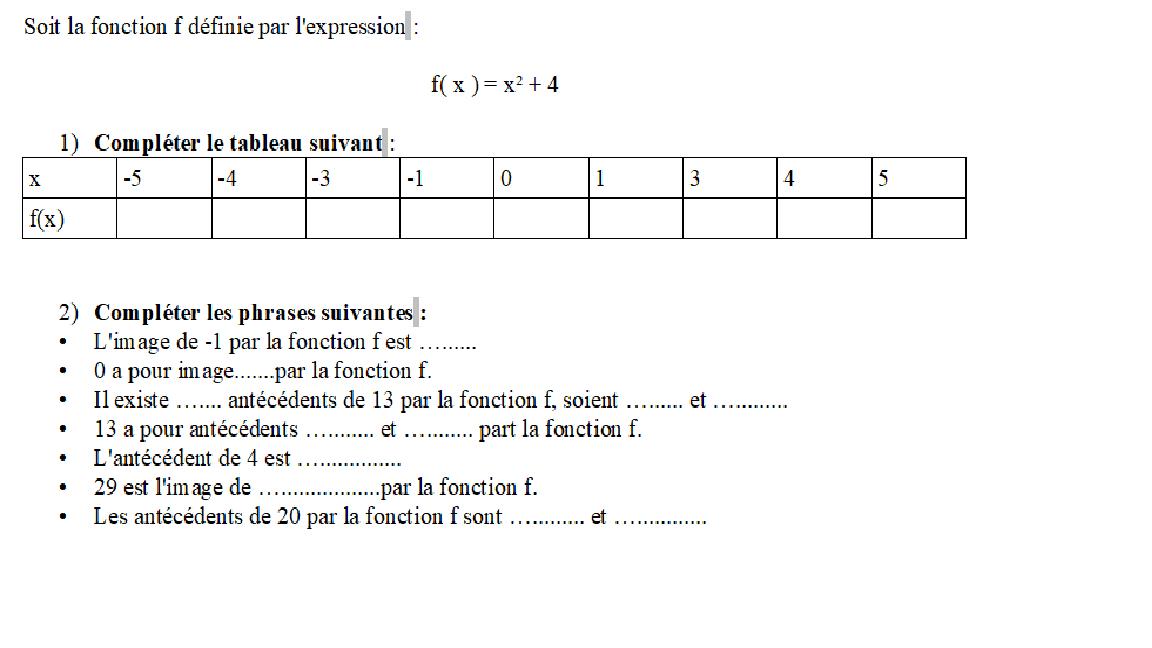 Exercice sur les fonctions - Cous Particuliers Math Narbonne