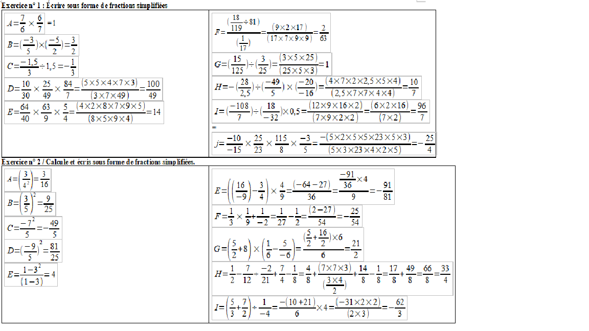 correction exercices fractions